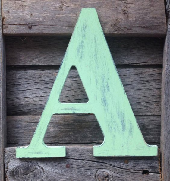Decorating with Wooden Letters View in gallery Custom wooden letter from Etsy shop From a Little Dust