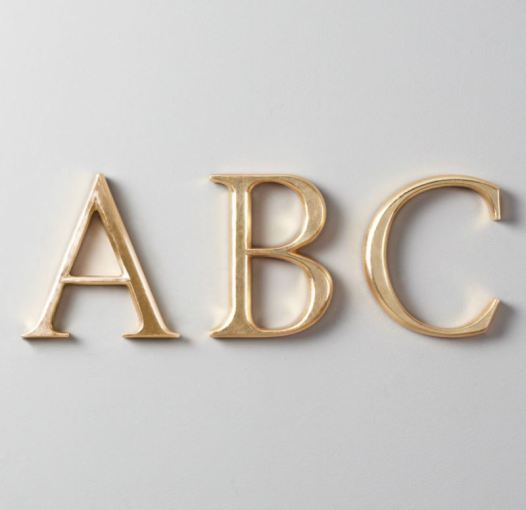 Decorating with Wooden Letters View in gallery Gilded wooden letters from Restoration Hardware Baby   Child