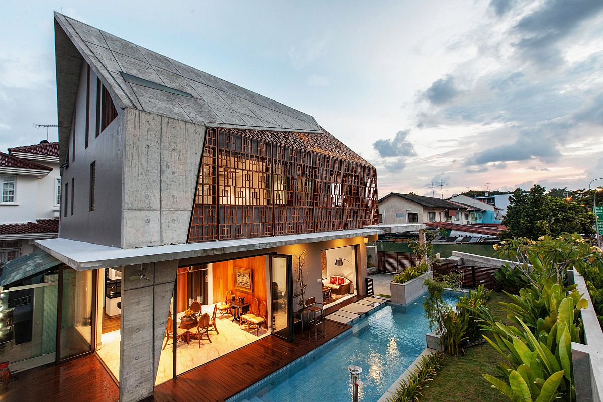 Concrete Teak And Nifty Design Vibrant Residence In
