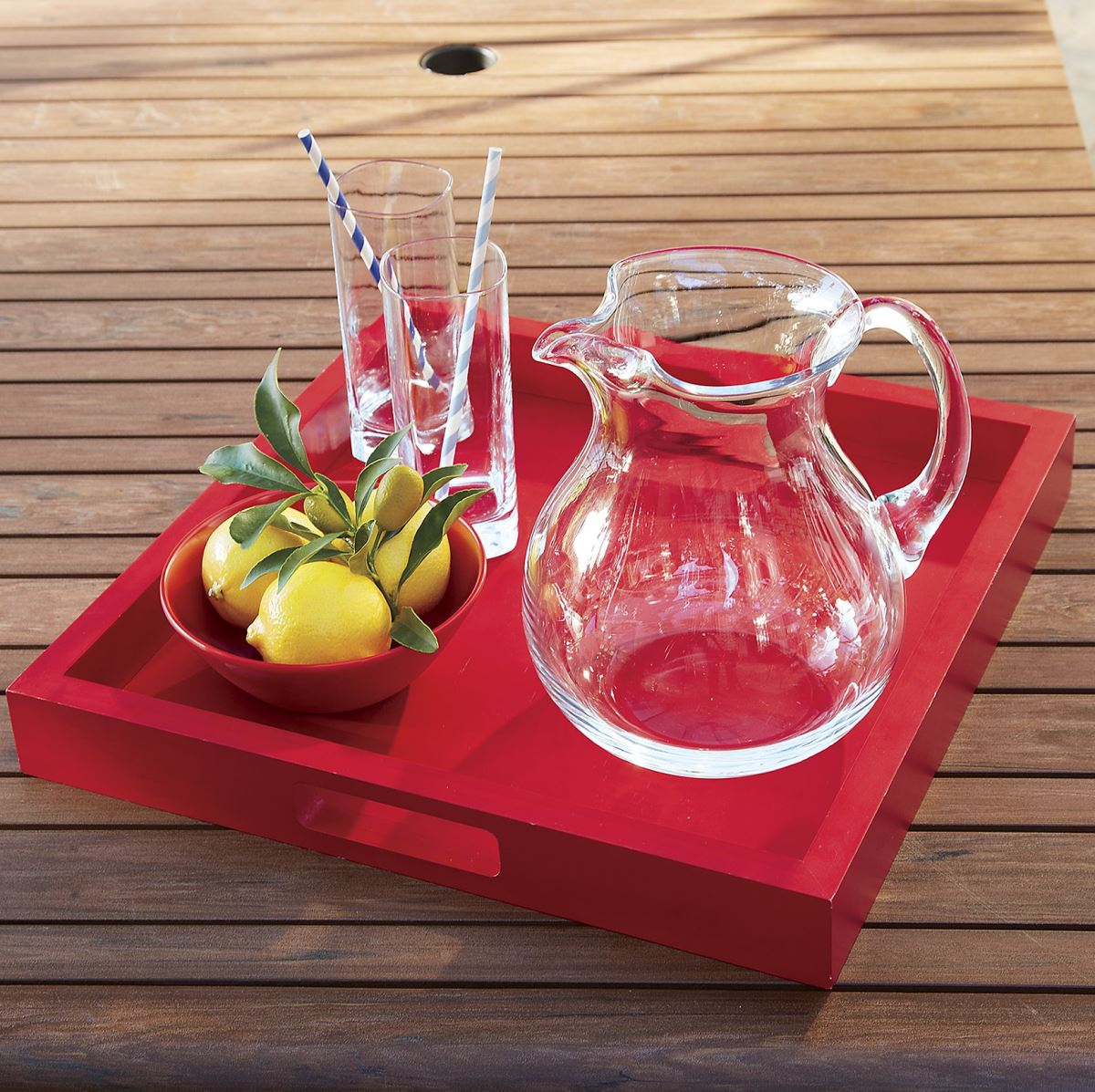 Wooden serving tray from Crate & Barrel