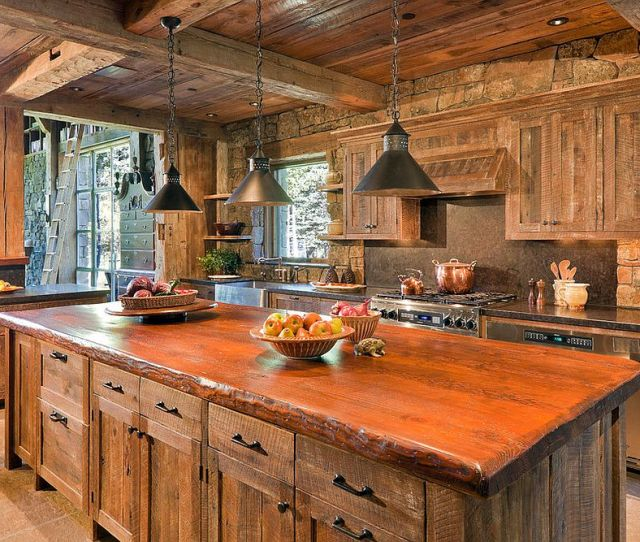 Cozy Rustic Kitchen Filled With Reclaimed Barn Wood From Jlf Associates Ron