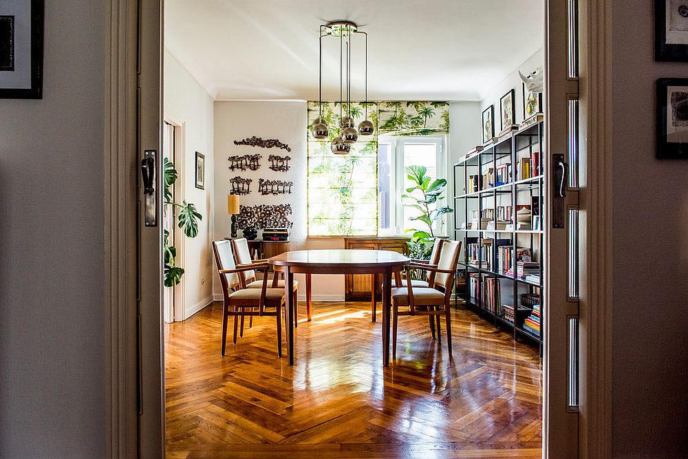 Dining Room Shades Also Add A Touch Of Greenery To The