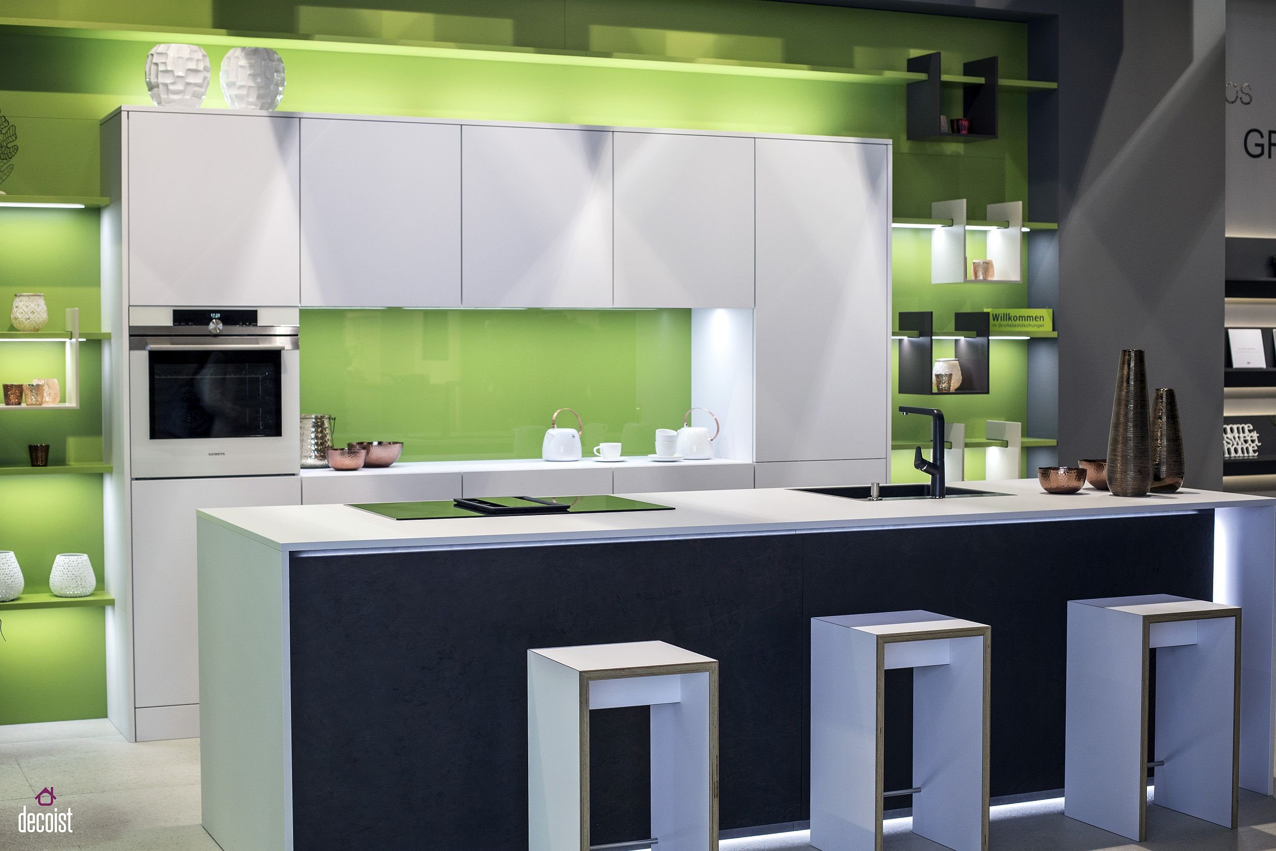 Practical and Trendy: 40 Open Shelving Ideas for the ... on Modern Kitchen Counter  id=97252