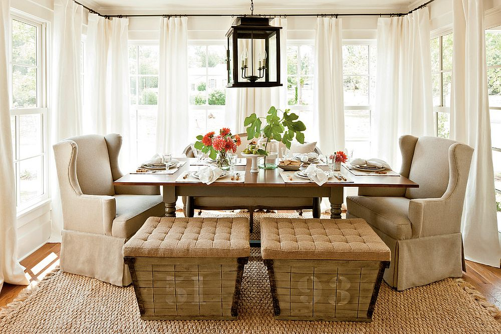 15 Ways to Bring Rustic Warmth to the Modern Dining Room on Farmhouse Dining Room Curtain Ideas  id=56264