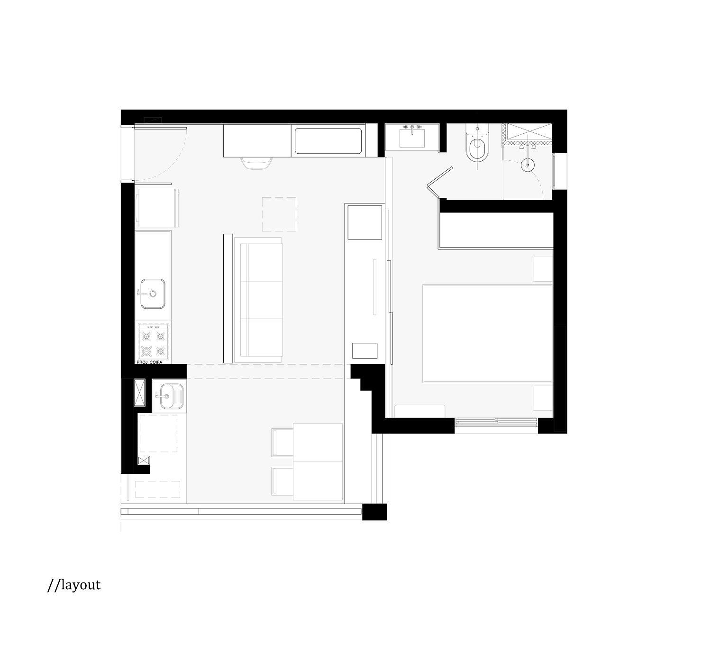 Sliding Doors And Multi Functional Wall Shape Tiny Sao
