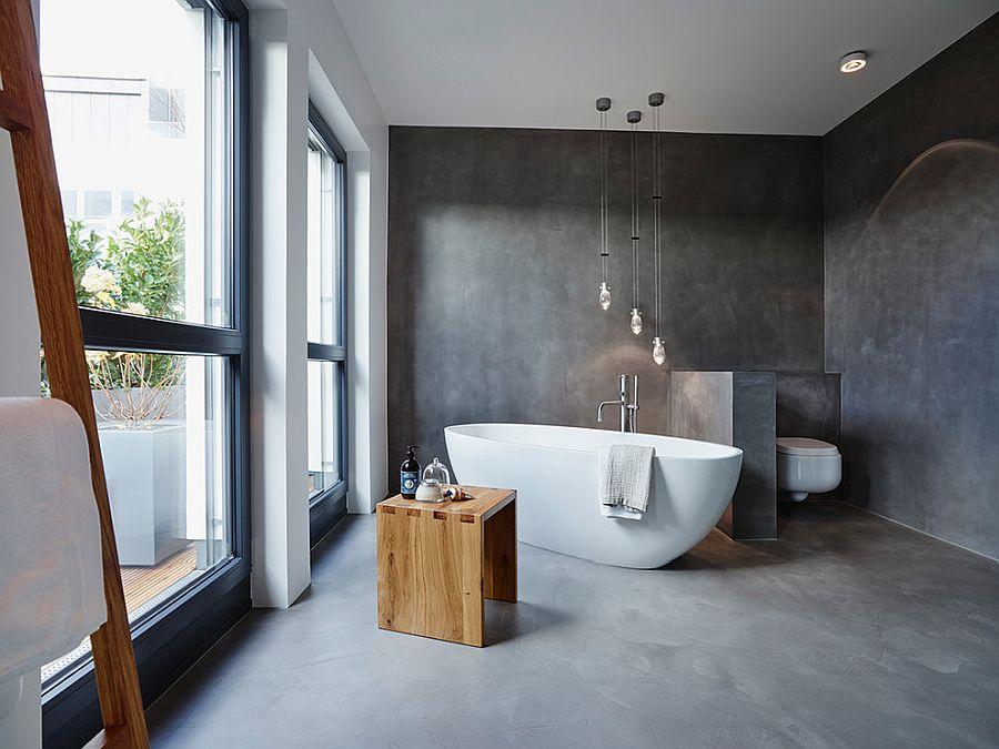 adding concrete to the bathroom in