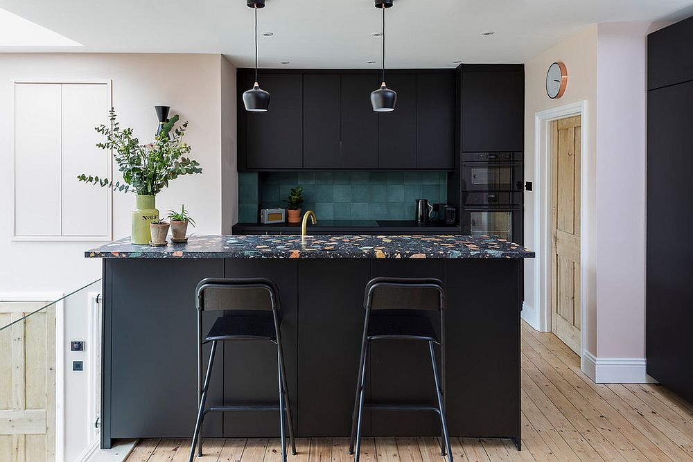 Trendy Colorful Kitchen Backsplashes: From Blue and Green ... on Black Countertop Backsplash  id=55512