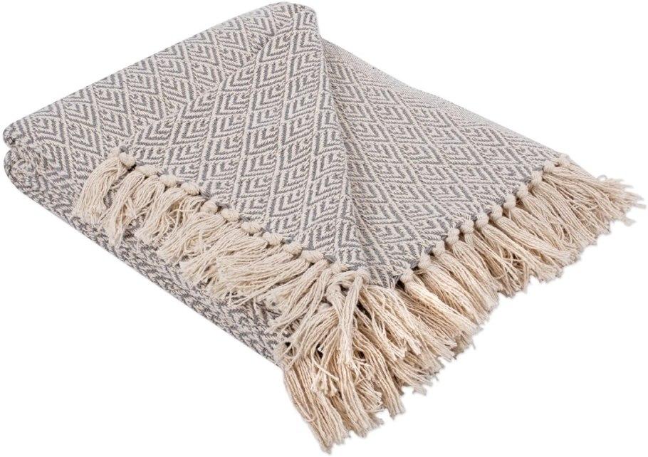 gray diamond throw blanket