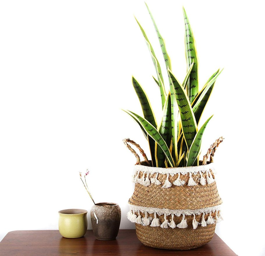 Large woven seagrass basket with tassels