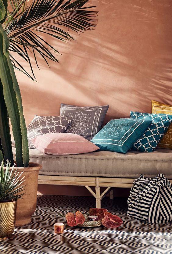 Earth Tones Lounge Area Colored Cushion Covers H&M