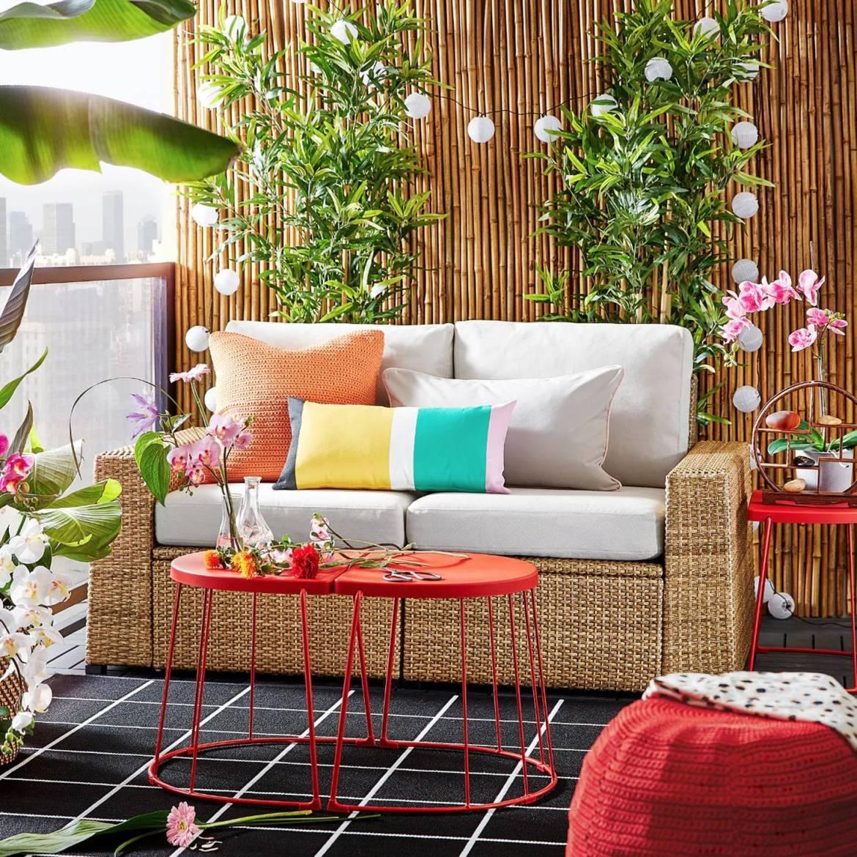 IKEA Outdoor Patio Furniture SOLLERON Decorative Pillows Accent Table Pouf