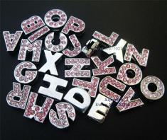 10pcs 8mm Pink Color Rhinestone Slide Letters Diy