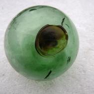 171 Brown Color Seal Button Green Korean Glass