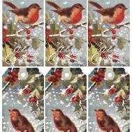 1908 Christmas Robins Printable Gift Wings