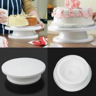 1pcs White Plastic Round Cake Turntable Platform