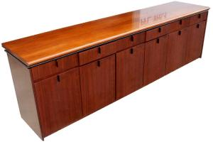9ft Mid Century Modern Wood Credenza Cabinet