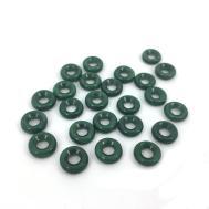 9mm Emerald Green Donut Bead Czech Glass Big Hole