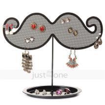 Antique Black Metal Nets Moustache Shaped Earrings Holder
