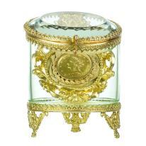 Antique Glass Gilt Bronze Pocket Watch Holder Jewelry