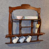 Antique Wall Shelf Bookcase Display Edwardian Oak Open