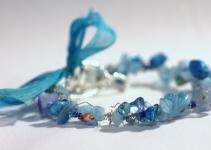 Aqua Blue Summer Sea Bracelet Stone Chips Shell Beads