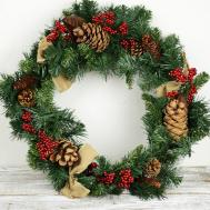 Artificial Pine Wreath Cones Berries Burlap Bows