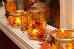 Autumn Leaf Candles Photos