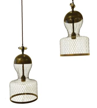 Balsamo Antiques Contemporary Italian Pair Mesh Covered