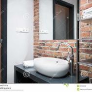Bathroom Brick Wall Stock Flat Room