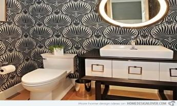 Bathroom Gold Black Geometric