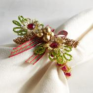Beaded Christmas Wreath Napkin Ring Pier Imports