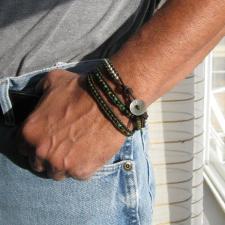 Beaded Leather Bracelet Men Handmade Wrapped