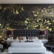 Black Gold Wall Design White Bad Room