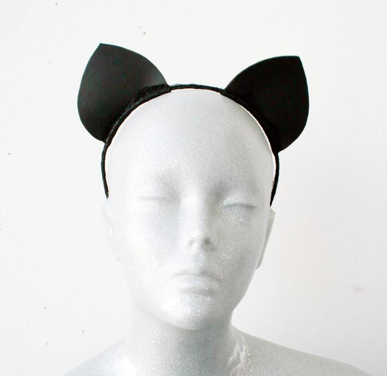 Black Leather Cat Ears Headband
