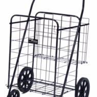 Black Polished Metal Baskets Folding Laundry Carts