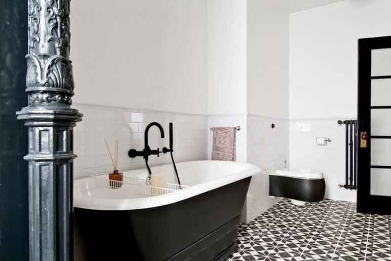 Black White Bathroom Tile Flooring Ideas Home