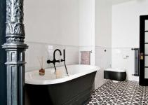 Black White Bathroom Tile Flooring Ideas Home