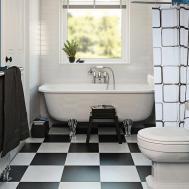 Black White Checkered Pattern Waterproof Bathing