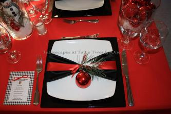 Black White Red All Over Christmas Tablescape