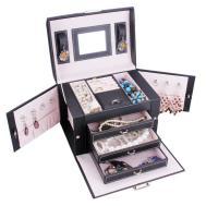 Black White Trinkets Jewelry Organizer Box Faux Leather
