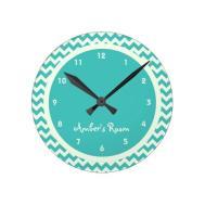 Blue Chevron Personalized Kid Bedroom Round Clock Zazzle