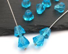 Blue Drop Bead Glass Teardrop Czech Fire Polished