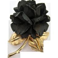 Boucher Black Flower Rose Pin Brooch Signed Numbered