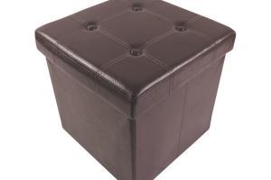 Brown Storage Ottoman Cube 375mm 380mm