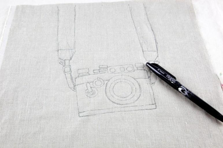 Camera Embroidery Tote Bag Minki Work Table