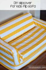 Carissa Miss Diy Striped Slipcover Kids Flip Sofa