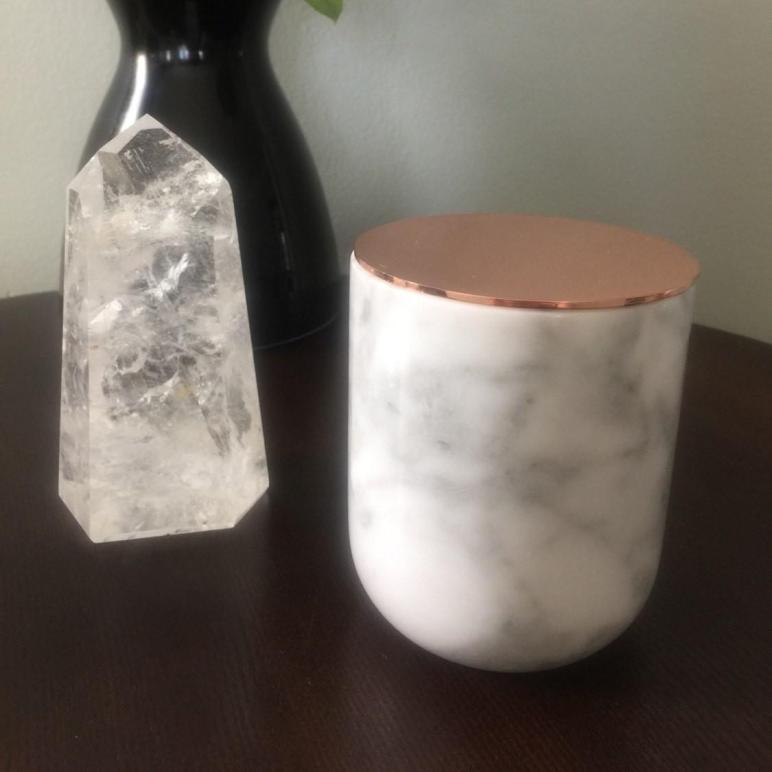 Carrara Marble Jar Copper Lid Cup Maisonjuxli