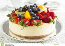 Cheesecake Topped Berries Fruits Stock