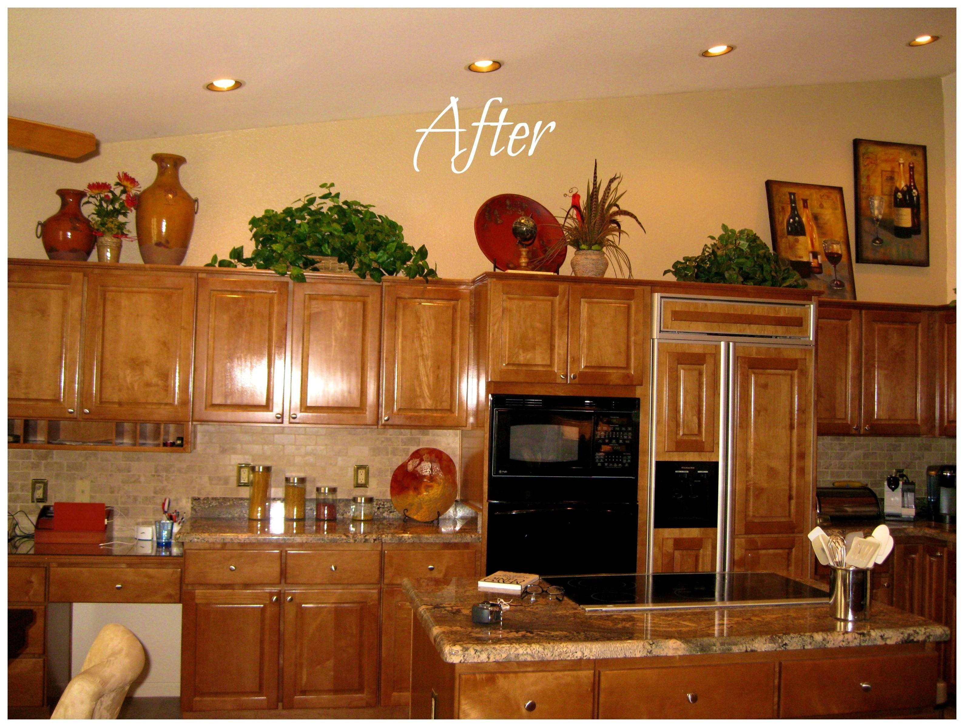 pictures of decorating above kitchen cabinets