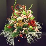 Christmas Floral Arrangement Centerpiece Gingerbread